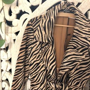 Tiger Print Faux Suede Jacket